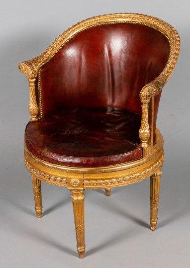 French Louis XVI style giltwood fauteuil de bureau