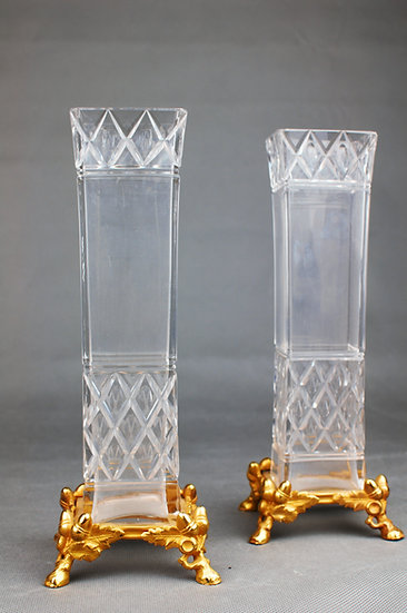Baccarat, Pair of French 19th c. gilt bronze and crystal glass vases