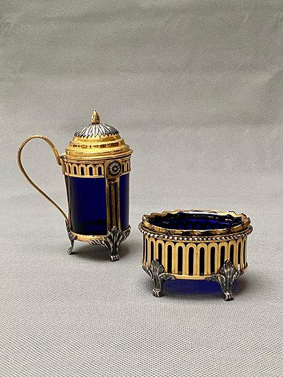 Belgian 18th century gilt and silvered bronze salt and mustard pot