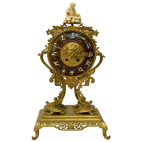 French 19th century Japonisme bronze and enamel mantel clock
