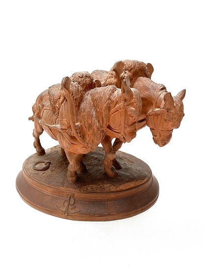 """Emmanuel Frémiet, terracotta group """"Chevaux de Halage"""" (Barge Horses)"""