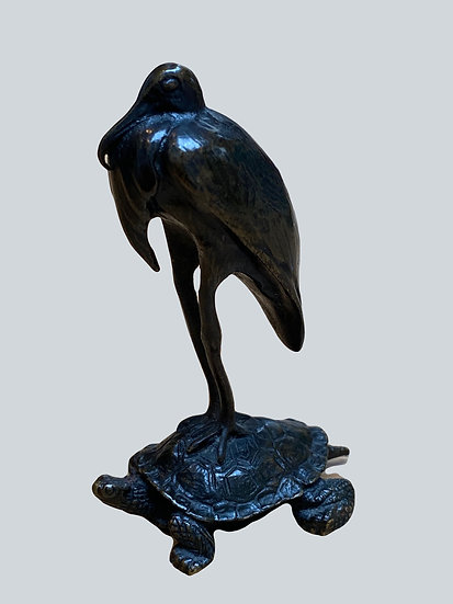 Antoine-Louis Barye. Stork Resting On A Turtle. Bronze, Barbedienne Cast, Paris