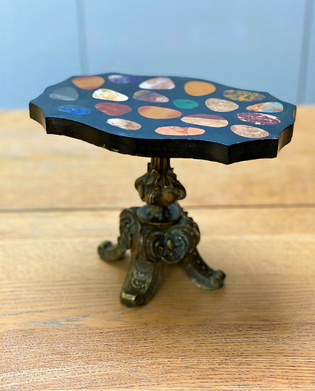Miniature Italian 19th c. Grand Tour table with pietre dure specimen marble top