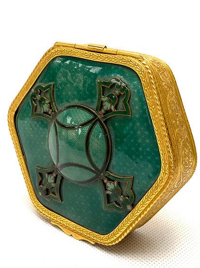 Small gilt-bronze and green enamel hexagonal box