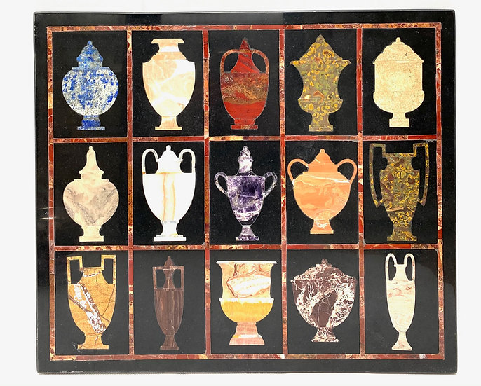 An Italian pietre dure marble panel of Classical vases
