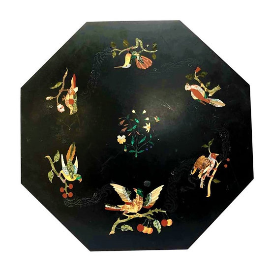 English mid-19th century octagonal black marble, hard stones and pietre dure top