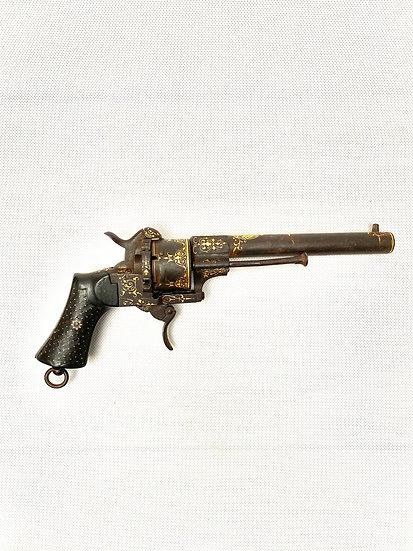 A Spanish gold damascene revolver by Zuloaga dated 1863