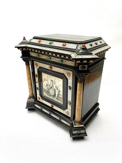 An Italian hardstone mounted ebony and ivory cabinet by Pogliani, Milan 1870