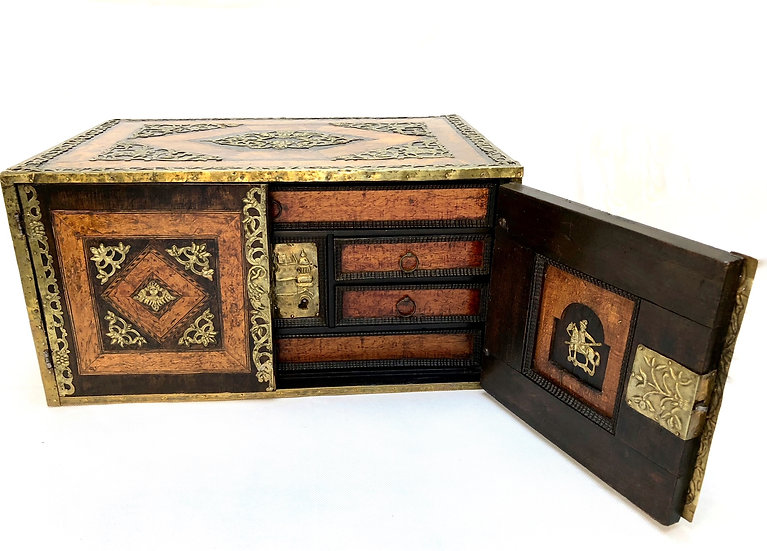 17th century table cabinet with secret drawers