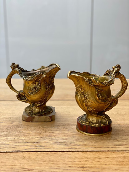 Pair of small 19th century gilt bronze and marble vases by Ferdinand Barbedienne