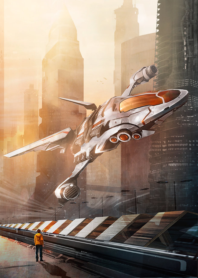 spaceship takes off in a scifi city