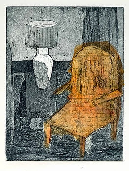 Her room with letter. 2020. Etching, home aquatint, chine colle