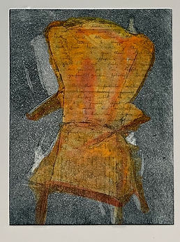 Her Chair with 1 letter. Etching, home aquatint, chine colle