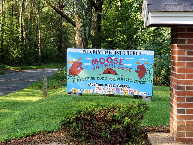 Vacation Bible School sign by our driveway