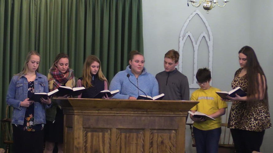 a few PB Teens singing Special Music during Sunday Service