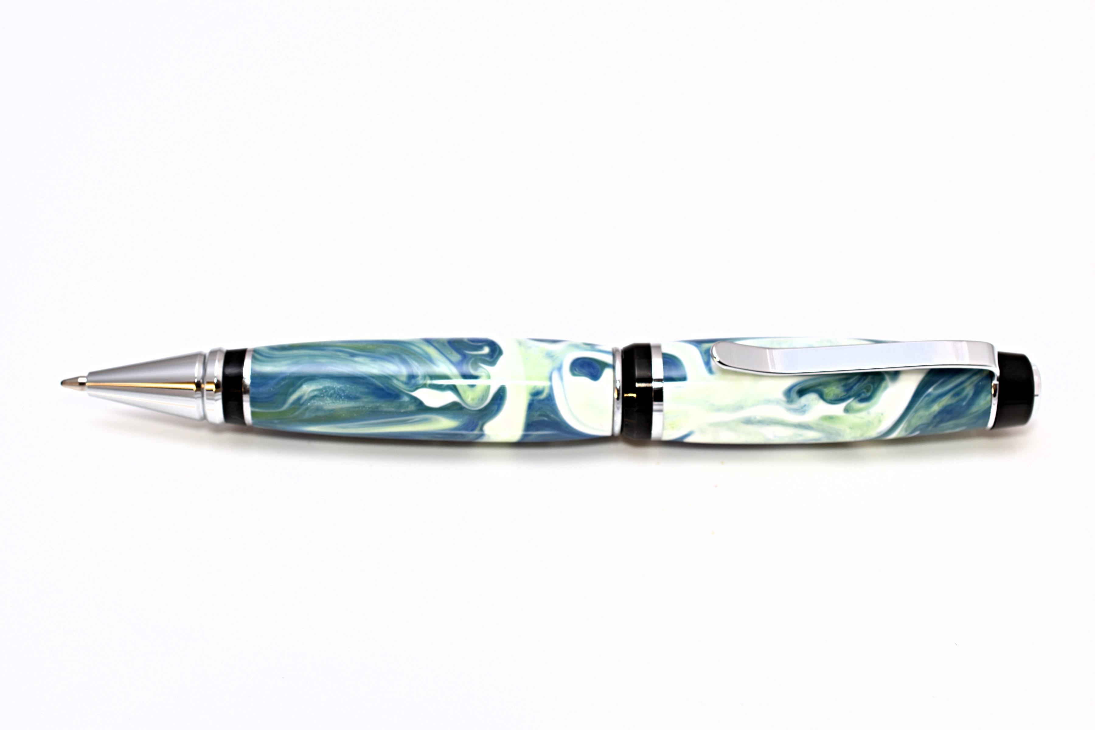 Kugelschreiber Harz weiss blau