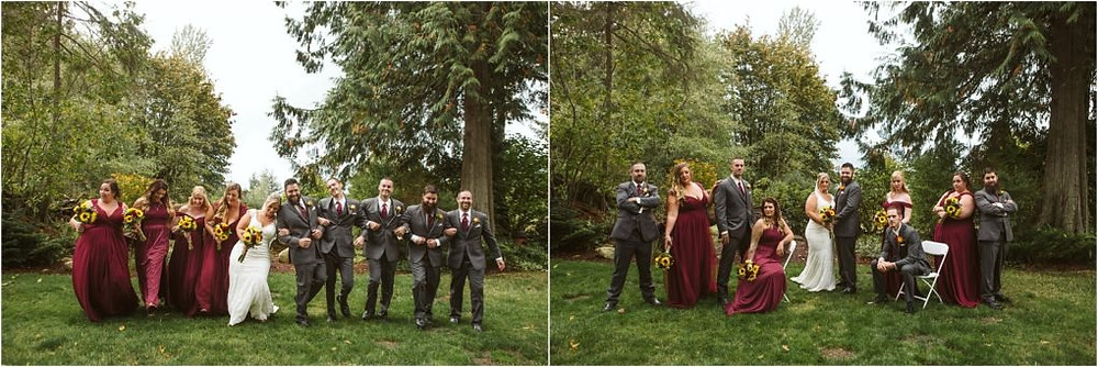 Bridal party of a rainy fall wedding at Lookout Lodge.