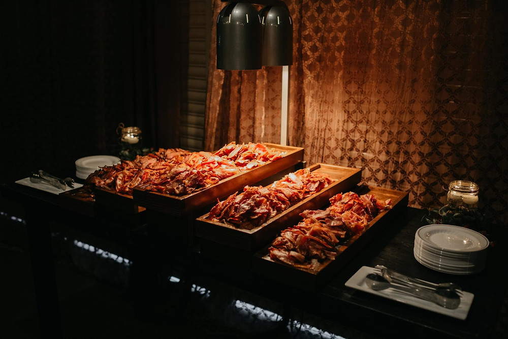 A fun bacon bar for the reception of a romantic, stormy wedding at Hidden Meadows in Snohomish, a wedding venue near Seattle, WA. | My Snohomish Wedding | Snohomish Wedding Planning