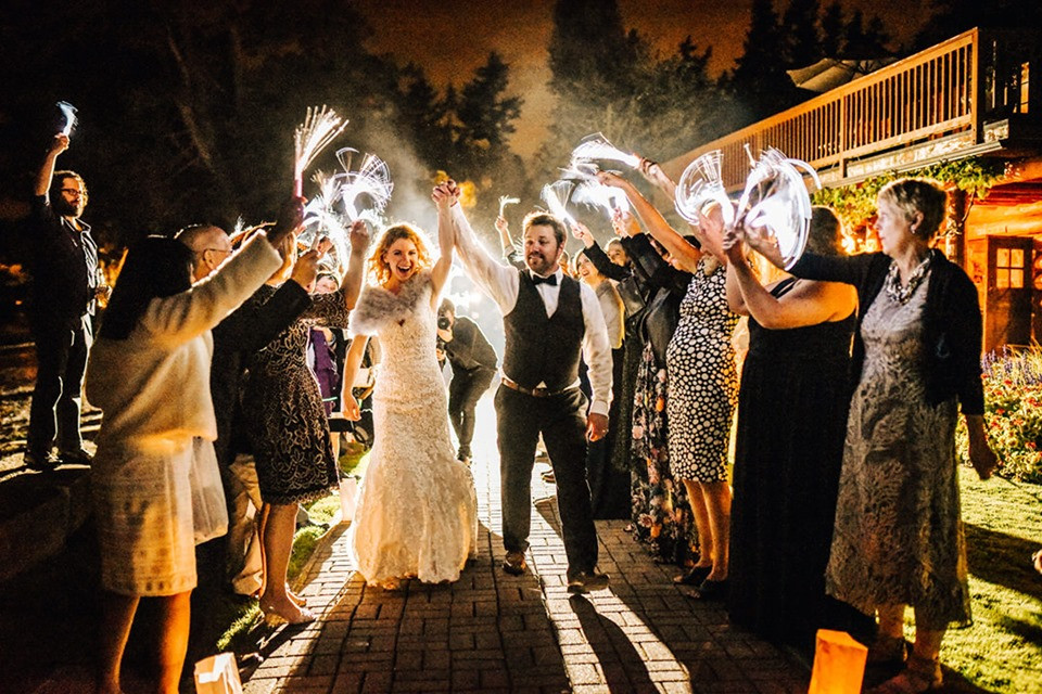 Photo of a fiber optic wand wedding send-off by Jenn Tai Photo Artistry | My Snohomish Wedding | Snohomish Wedding Planning