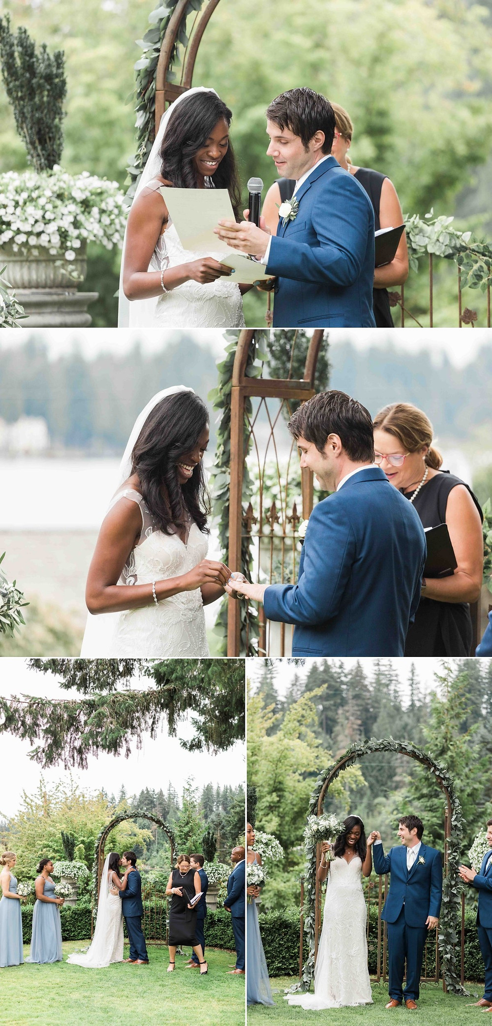 A bride and groom recite their vows during their wedding at Green Gates at Flowing Lake, a wedding venue in Snohomish near Seattle, WA. | My Snohomish Wedding | Snohomish Wedding Planning