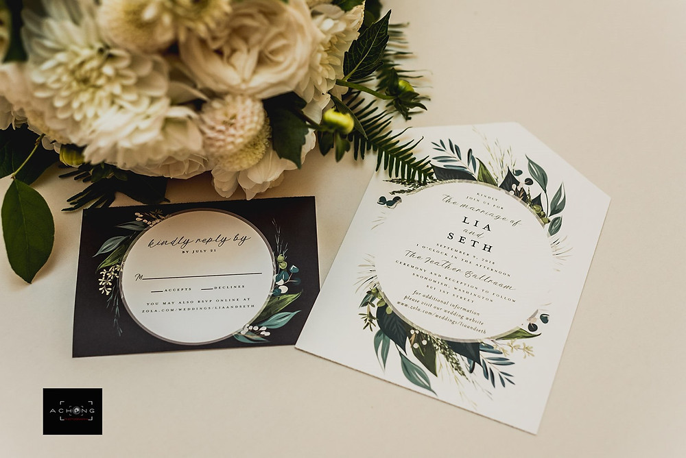 A photo of wedding invitations from The Feather Ballroom in Snohomish, a wedding venue near Seattle, WA. | My Snohomish Wedding | Snohomish Wedding Planning