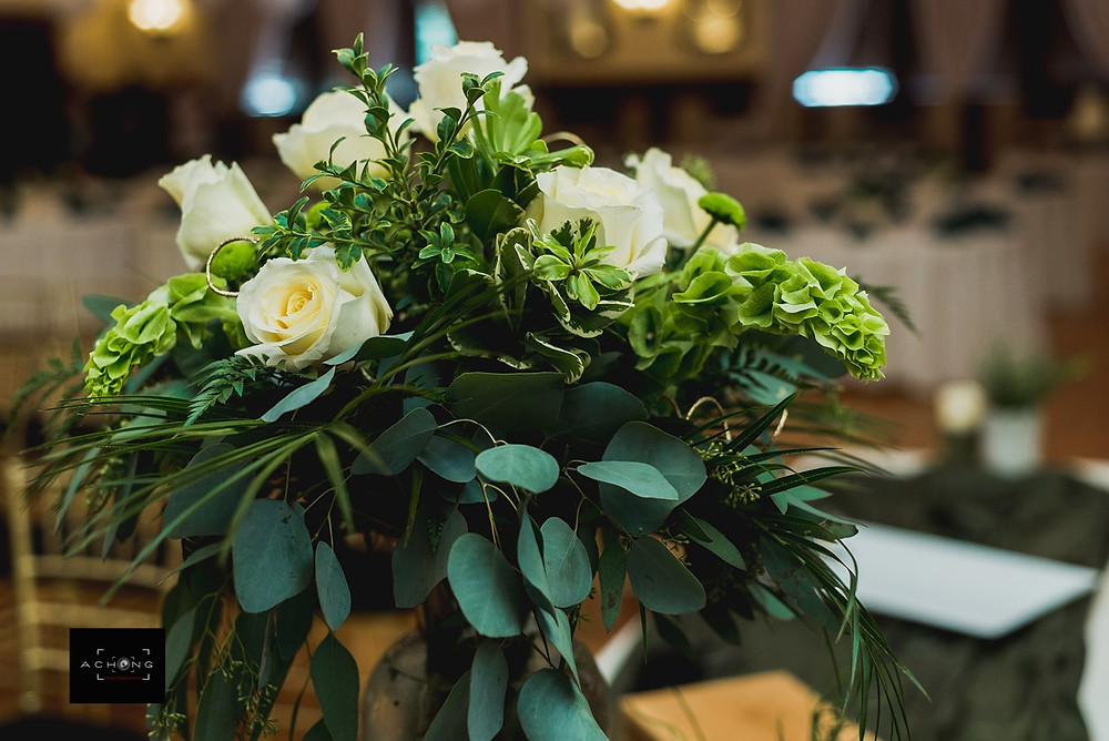 A photo of a floral arrangement from The Feather Ballroom in Snohomish, a wedding venue near Seattle, WA, for a portrait. | My Snohomish Wedding | Snohomish Wedding Planning