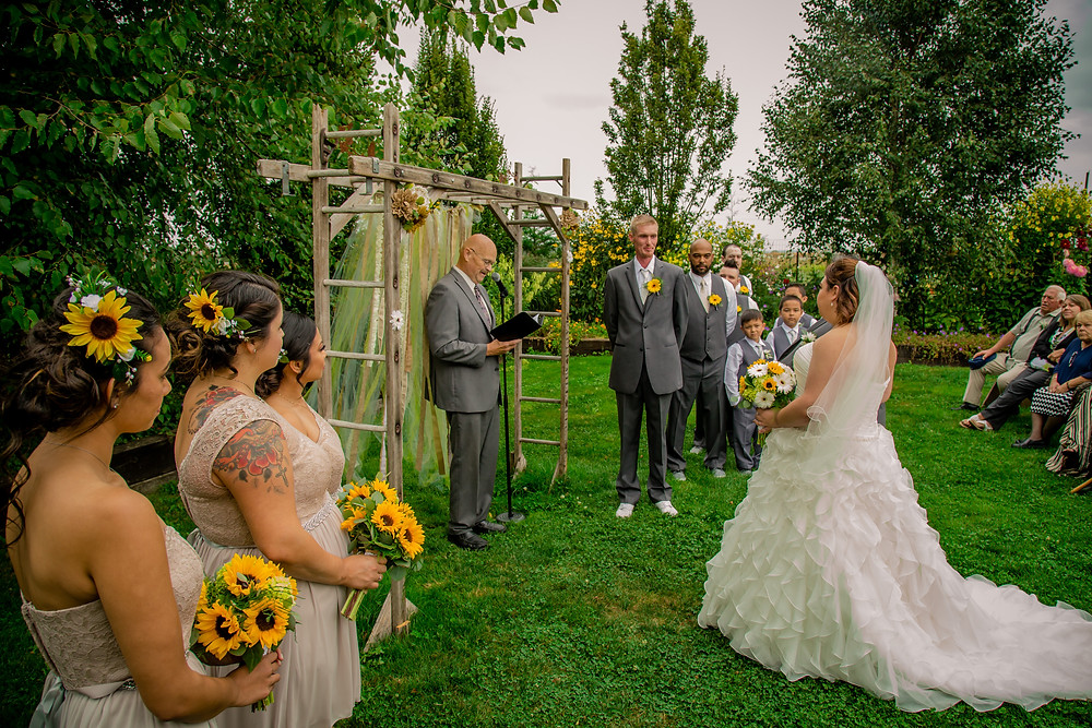 A photo of the ceremony during a wedding at the Red Barn at Stocker Farms in Snohomish, a wedding venue near Seattle, WA.