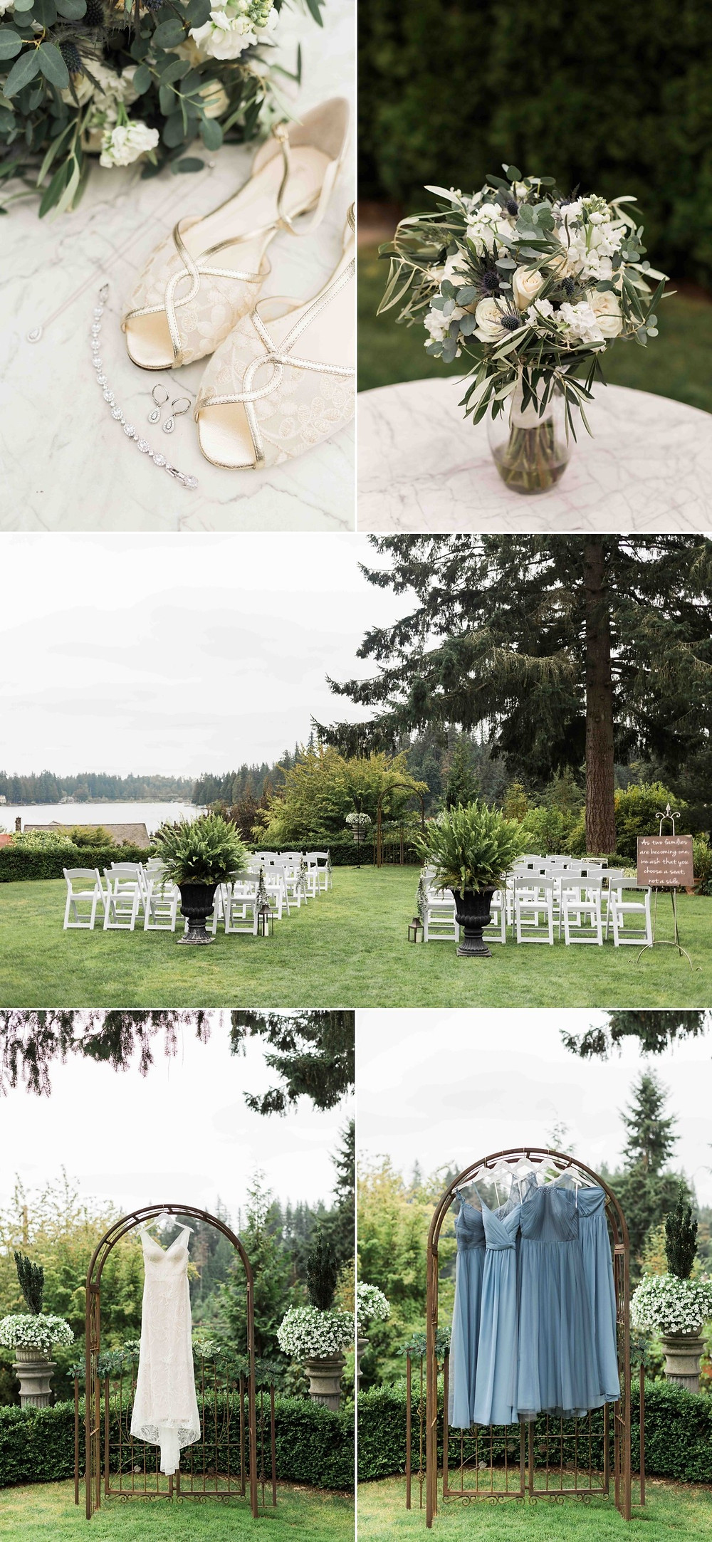 Bridal details and a photo of the ceremony area from a wedding at Green Gates at Flowing Lake, a wedding venue in Snohomish near Seattle, WA. | My Snohomish Wedding | Snohomish Wedding Planning