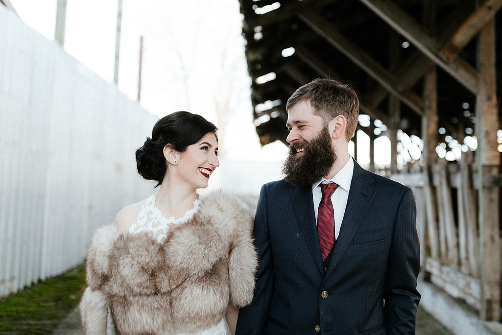 A wedding portrait for a winter wedding at Dairyland in Snohomish, a wedding venue near Seattle, WA. | My Snohomish Wedding | Snohomish Wedding Planning