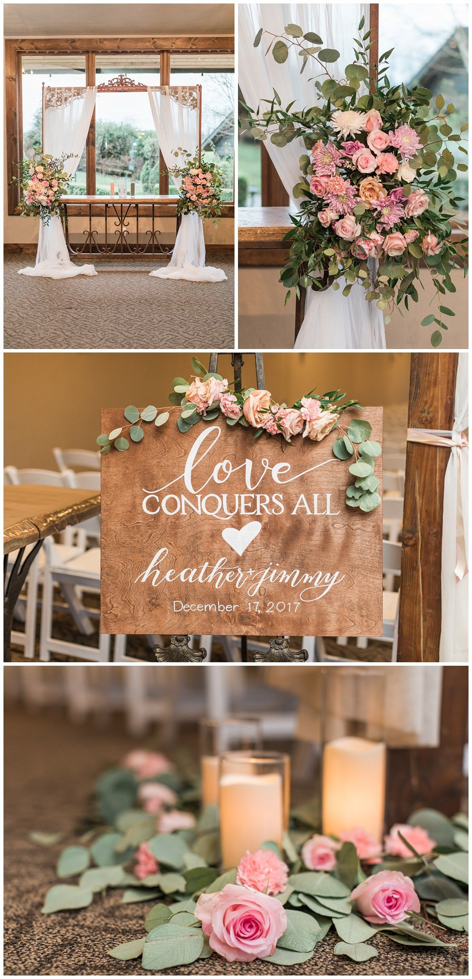 Photos of the decor and floral arrangements from a wedding at Hidden Meadows in Snohomish, a wedding venue near Seattle.