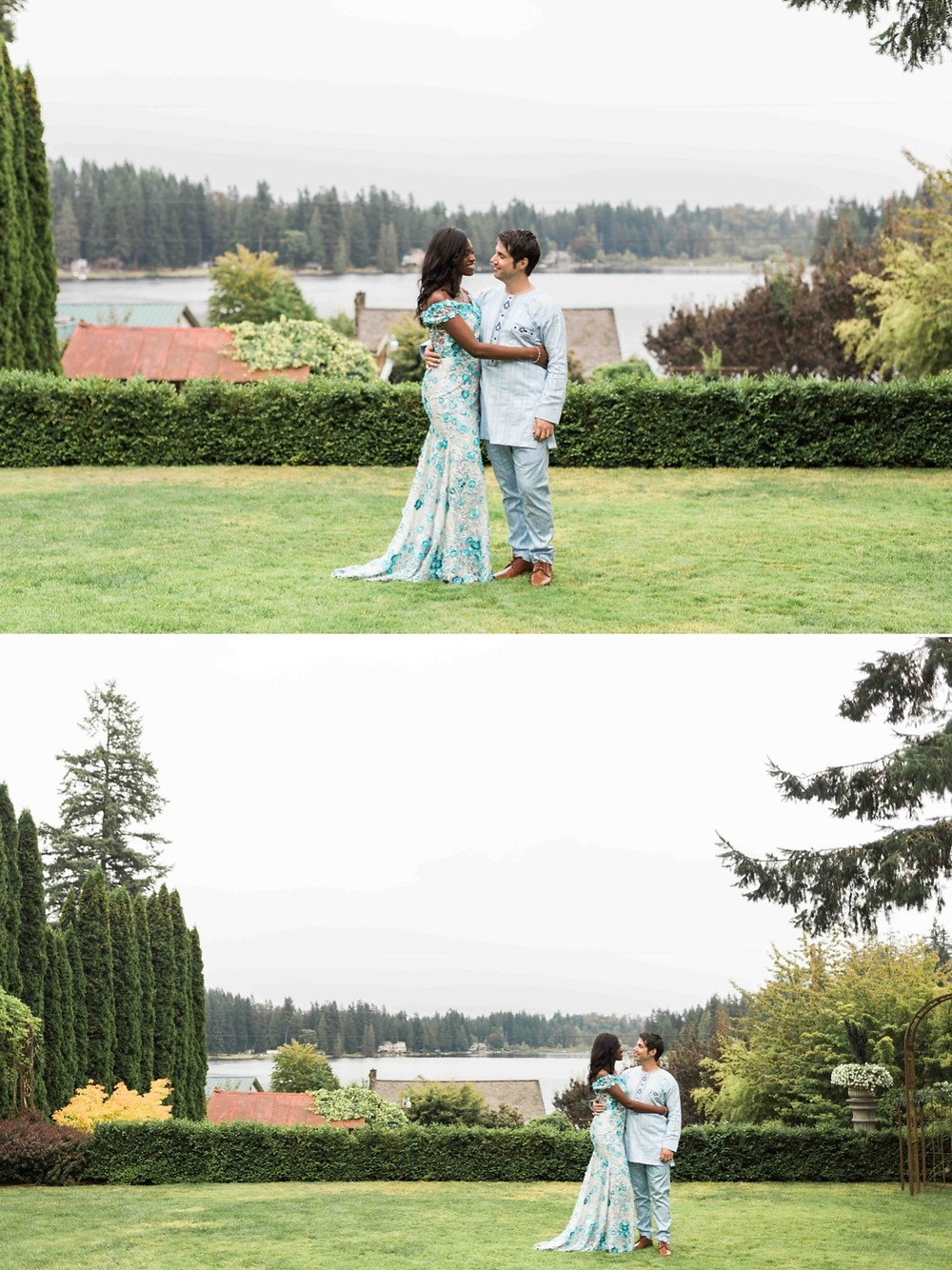 Newlywed couples portraits after their wedding at Green Gates at Flowing Lake, a wedding venue in Snohomish near Seattle, WA. | My Snohomish Wedding | Snohomish Wedding Planning