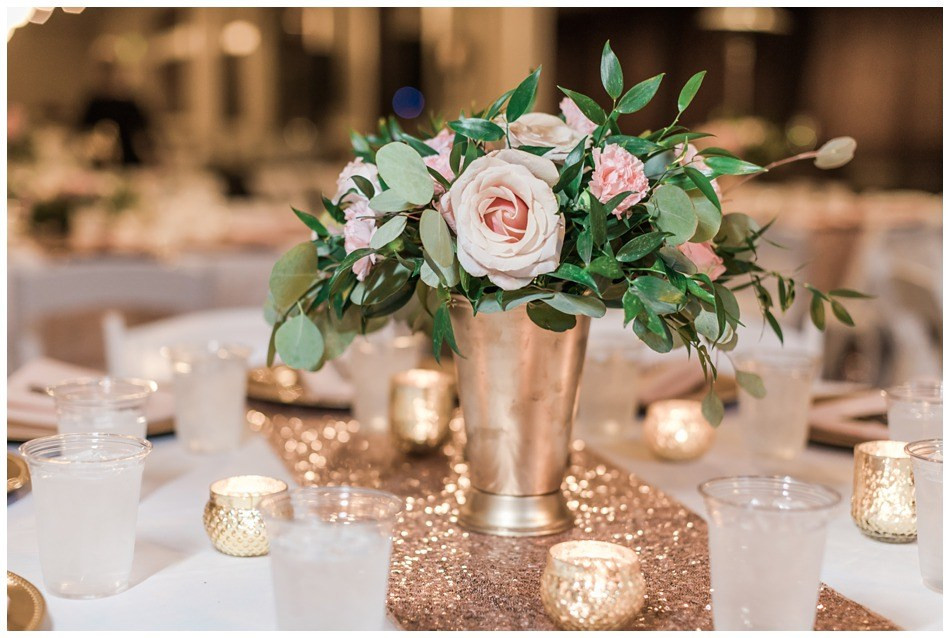 A photo of the floral arrangement and table decor from a wedding at Hidden Meadows in Snohomish, a wedding venue near Seattle.