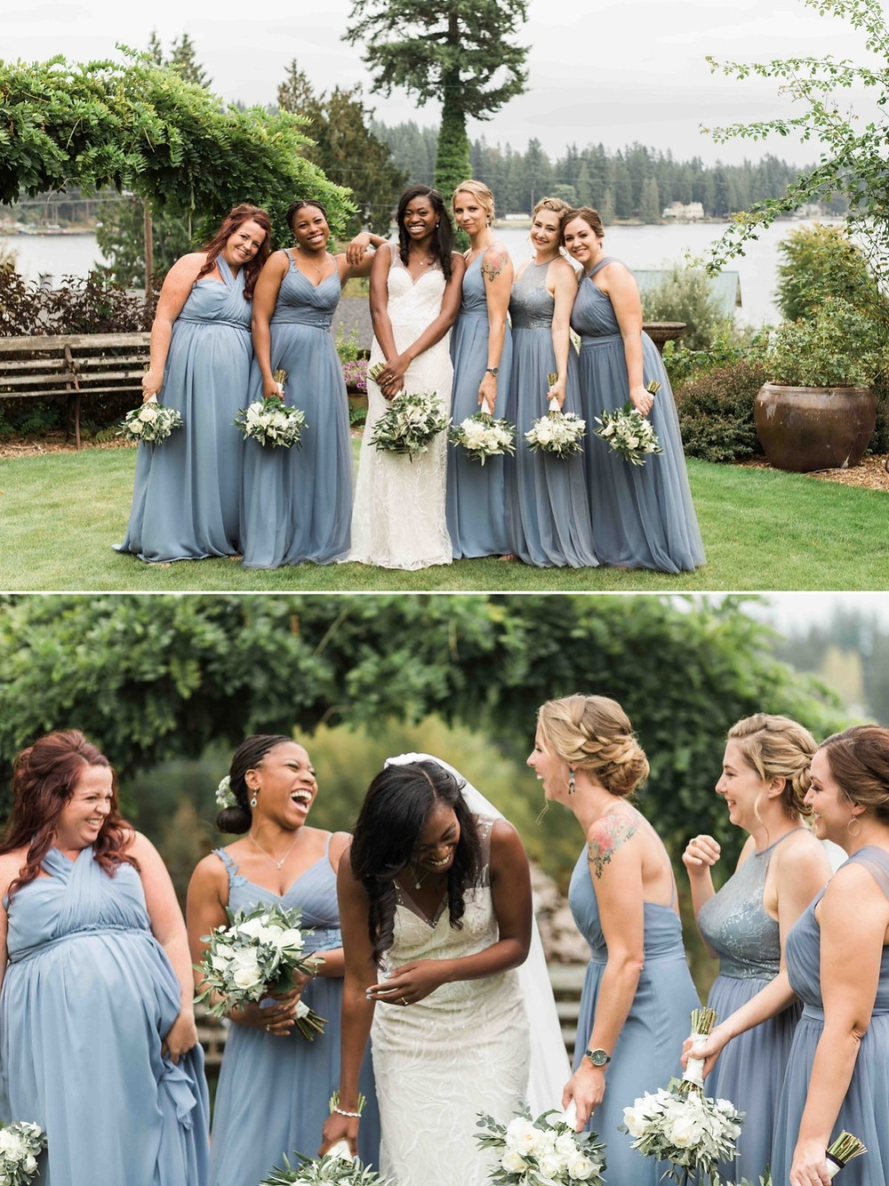 Photos of a bridal party from a wedding at Green Gates at Flowing Lake, a wedding venue in Snohomish near Seattle, WA. | My Snohomish Wedding | Snohomish Wedding Planning