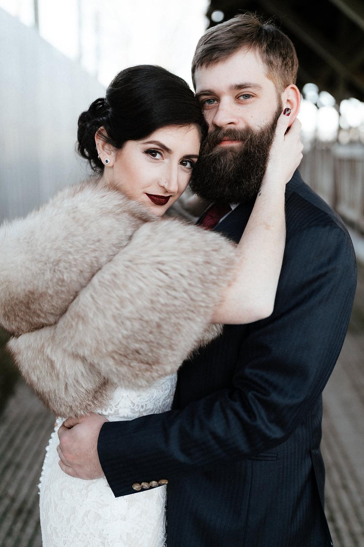 A wedding portrait from a winter wedding at Dairyland in Snohomish, a wedding venue near Seattle, WA. | My Snohomish Wedding | Snohomish Wedding Planning