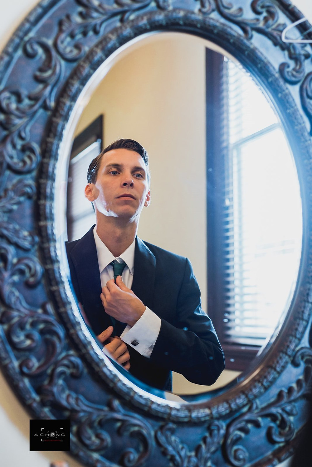 A groom gets ready for his wedding at The Feather Ballroom in Snohomish, a wedding venue near Seattle, WA. | My Snohomish Wedding | Snohomish Wedding Planning