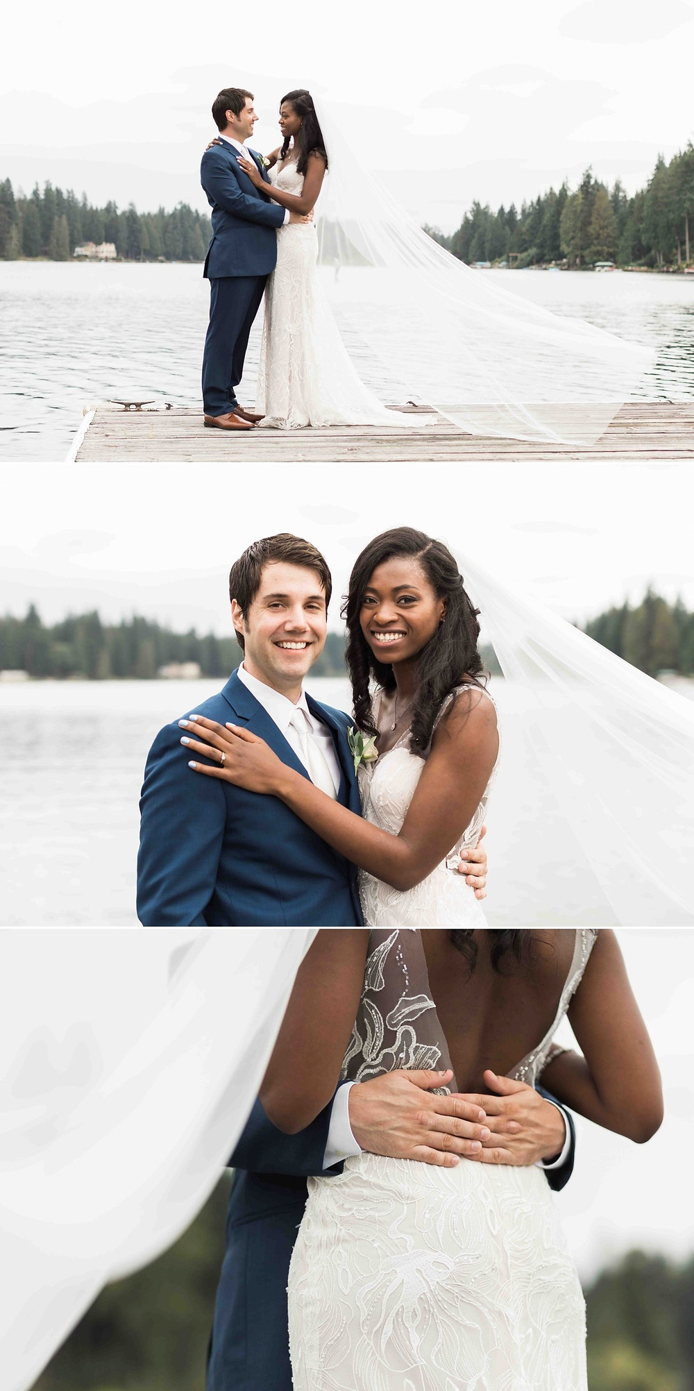 Outdoor couple portraits near the lake from a wedding at Green Gates at Flowing Lake, a wedding venue in Snohomish near Seattle, WA. | My Snohomish Wedding | Snohomish Wedding Planning