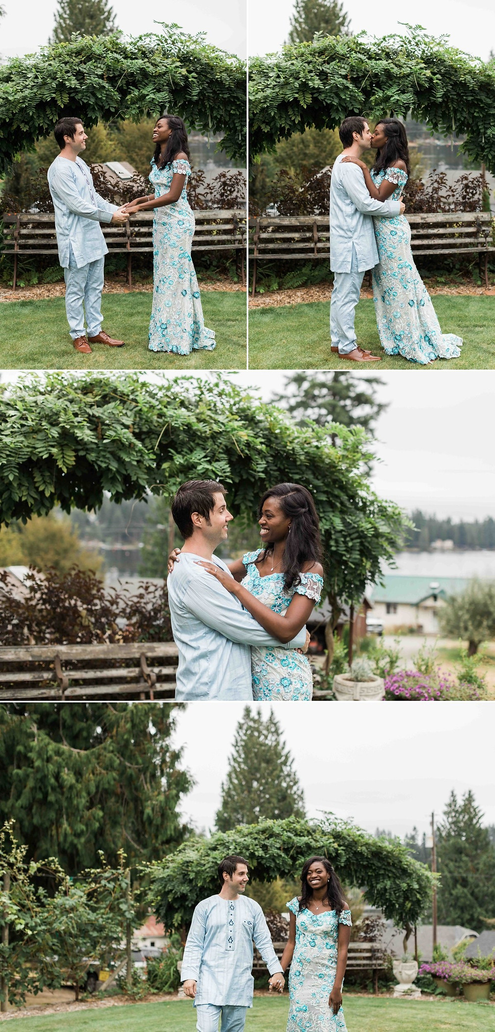 Photos of a bride and groom outdoors after their wedding at Green Gates at Flowing Lake, a wedding venue in Snohomish near Seattle, WA. | My Snohomish Wedding | Snohomish Wedding Planning