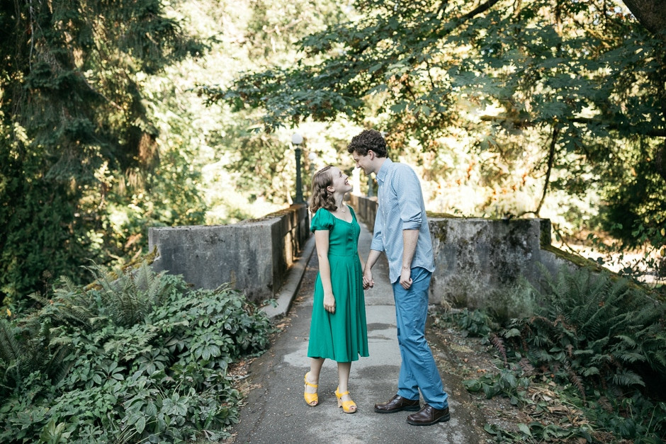 An engaged couple holds hands and gazes at each other. | My Snohomish Wedding | Wedding planning near Seattle, WA.