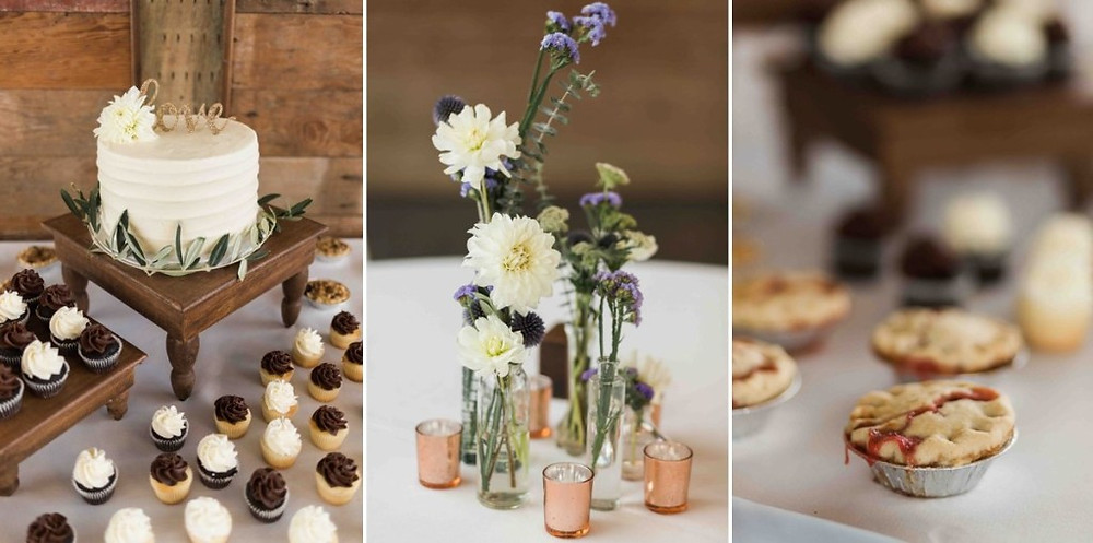 Floral arrangements and desserts from a reception at Green Gates at Flowing Lake, a wedding venue in Snohomish near Seattle, WA. | My Snohomish Wedding | Snohomish Wedding Planning
