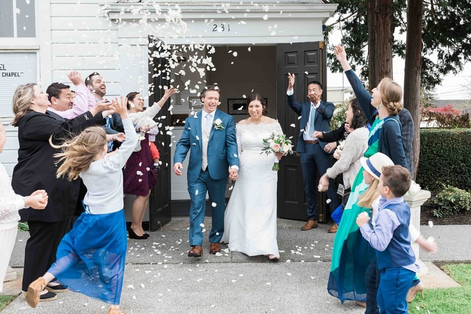 Photo of a flower petal send-off by Joanna Monger Photography | My Snohomish Wedding | Snohomish Wedding Planning