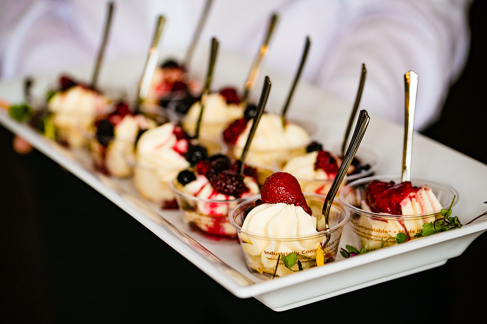 Mini wedding catering desserts by Navi's Catering Kitchen, a Snohomish wedding caterer. | www.mysnohomishwedding.com