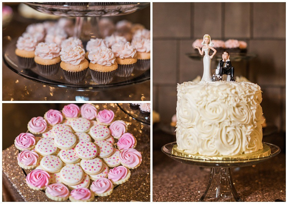 Photos of a wedding cake and other sweet desserts from a wedding at Hidden Meadows in Snohomish, a wedding venue near Seattle.