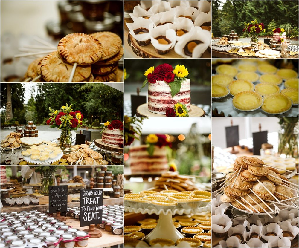 Mini dessert bar at fall rainy wedding at Lookout Lodge.