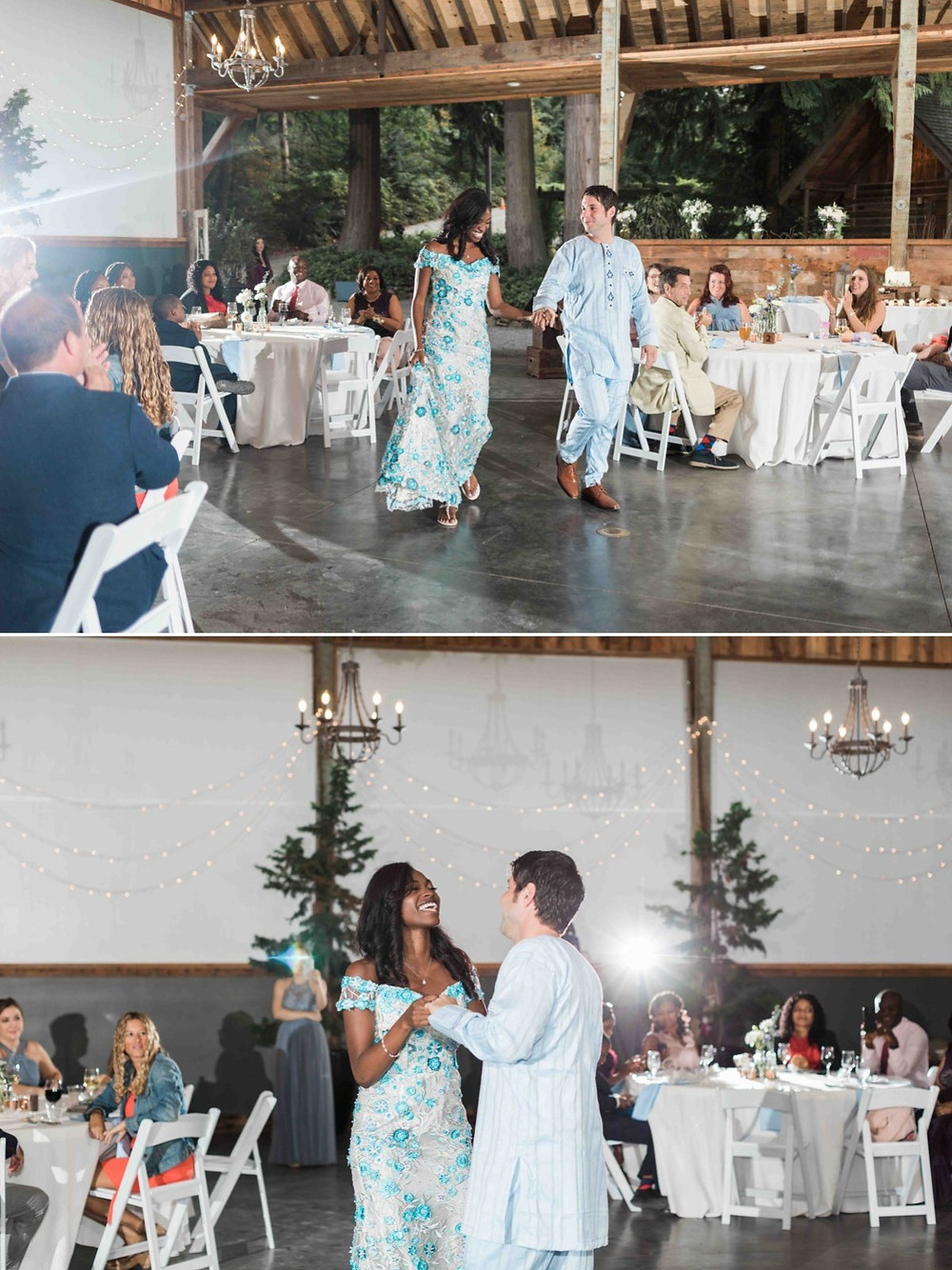 Photos of a bride and groom during their first dance at their wedding reception at Green Gates at Flowing Lake, a wedding venue in Snohomish near Seattle, WA. | My Snohomish Wedding | Snohomish Wedding Planning