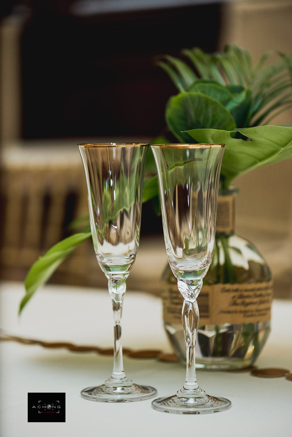 A photo of two toast flutes at The Feather Ballroom in Snohomish, a wedding venue near Seattle, WA. | My Snohomish Wedding | Snohomish Wedding Planning