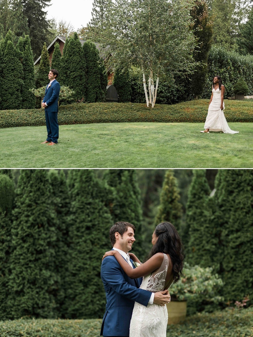 Photos of a bride and groom during their first look before their wedding at Green Gates at Flowing Lake, a wedding venue in Snohomish near Seattle, WA. | My Snohomish Wedding | Snohomish Wedding Planning