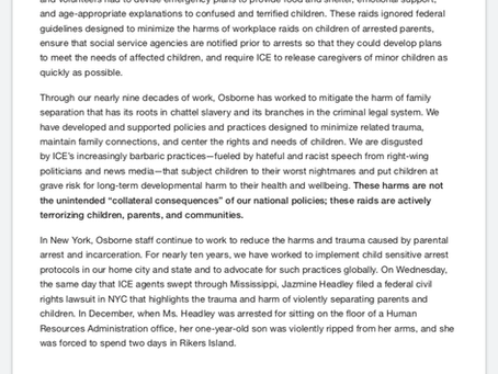 Statement on the Recent Mississippi Immigration Raids and Protocols to Protect the Rights of Childre