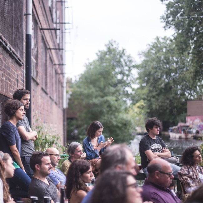 Audience at Chisenhale Studios Terrace during the performance