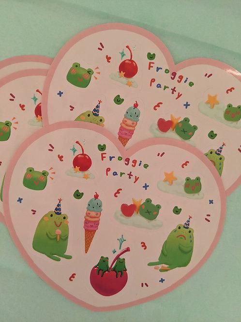 Froggie Party Heart Sticker Sheet