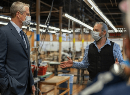 GOV. BAKER TOURS FACTORY CONVERTED TO MAKE PERSONAL PROTECTIVE EQUIPMENT FOR CORONAVIRUS CRISIS